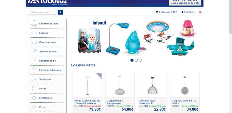 Diseño y programación de tienda online para Todoluz